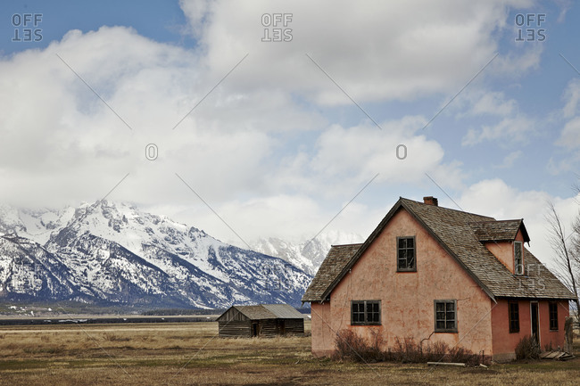 Abandoned house in mountain prairie