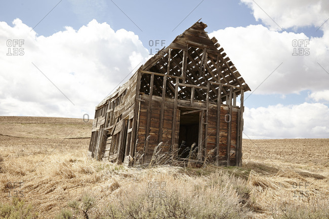 Old abandoned shed in field