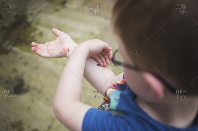 Little boy looking at an insect