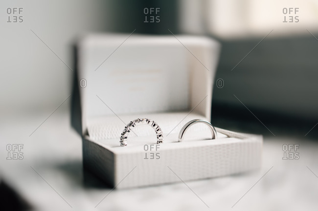 Close up of wedding rings in an elegant box