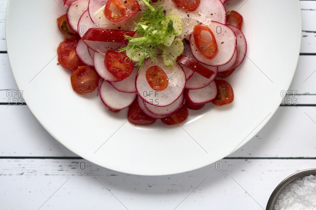 Fresh radish salad served on a plate