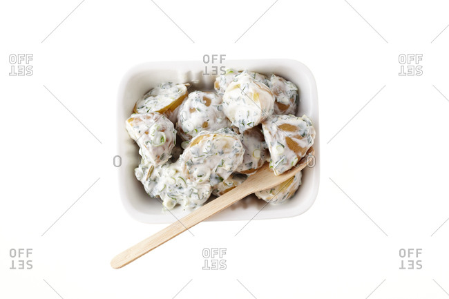 Potato salad in a disposable container