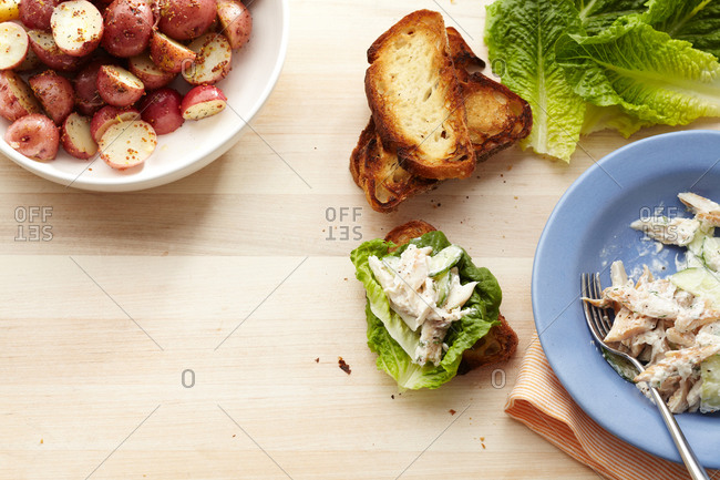 Open-faced trout sandwich with mustard potatoes