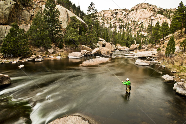 A fly fisherman in Colorado