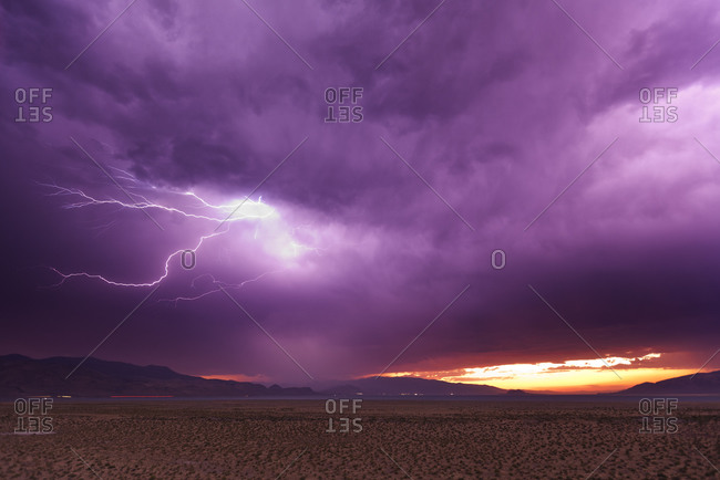 Lightning storm at dusk over Pyramid Lake, Nevada