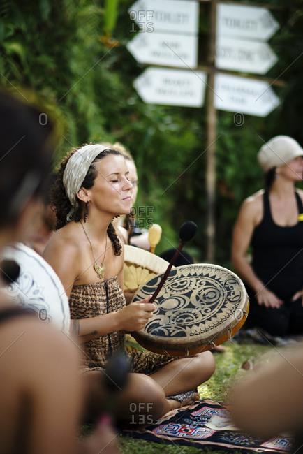 A drumming circle at a new age retreat