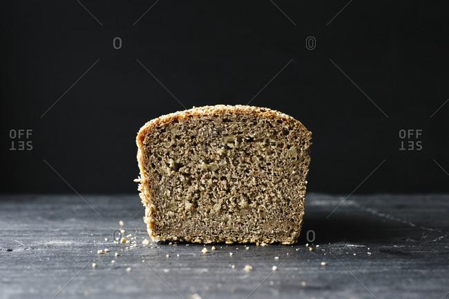Whole grain rye loaf sliced