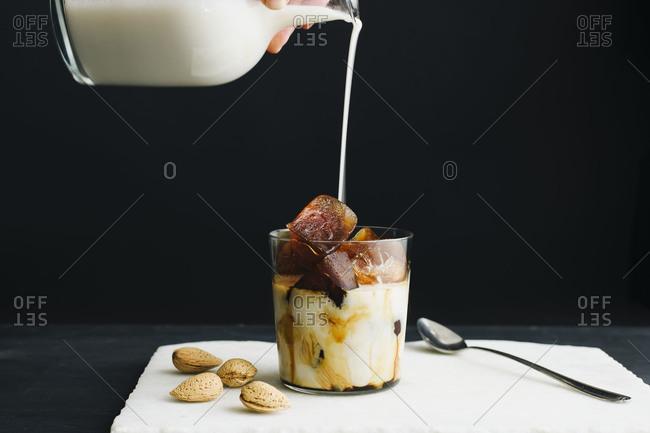 Iced coffee almond milk preparation