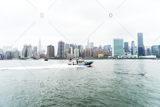 Boat in East River, NYC