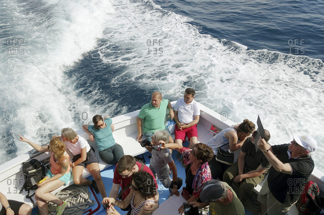 Liguria, Italy - May 31, 2015: Tourists on a boat in Levanto, in the Cinque Terre area of Liguria