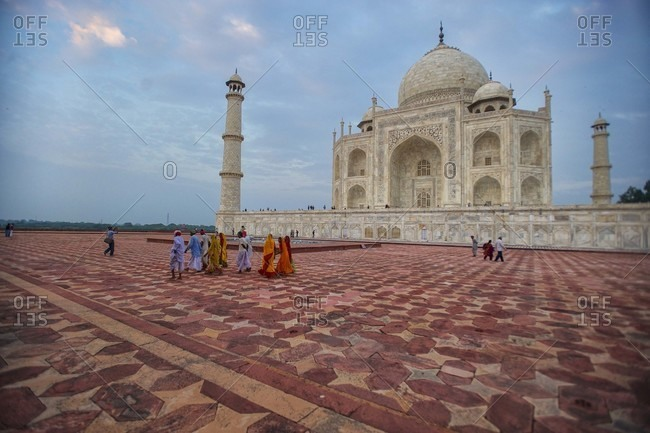 Uttar Pradesh, India - September 24, 2010: People walking at the Taj Mahal in Uttar Pradesh, India