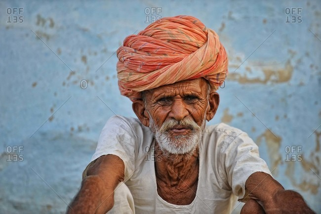 Rajasthan, India - October 4, 2010: Portrait of a man with a turban in Rajasthan, India
