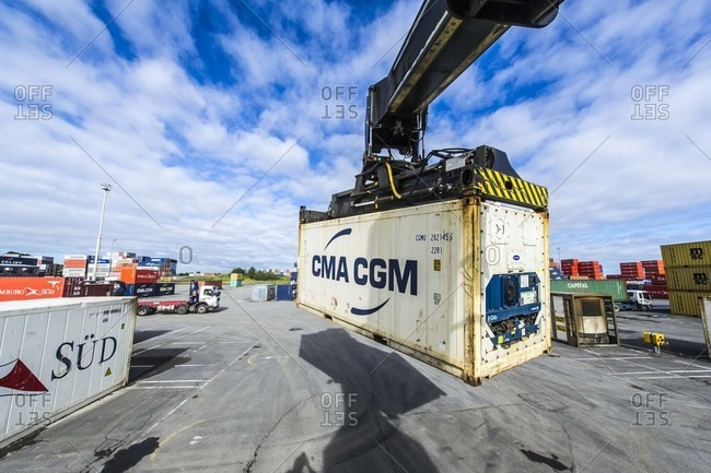 Kiwi Rail, New Zealand - June 6, 2011: Containers handling crane in New Zealand