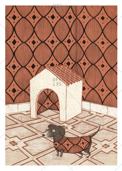 Illustration of a dachshund - Offset
