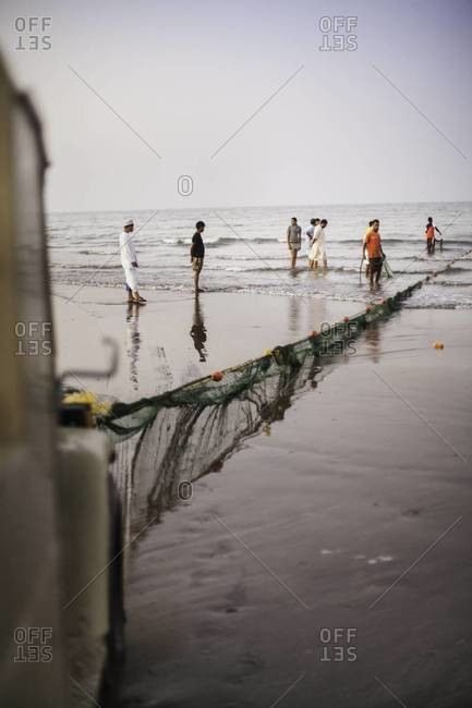 Muscat, Oman - October 18, 2011: Using truck for fishing in Oman