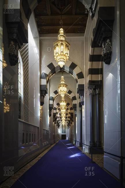 Muscat, Oman - October 20, 2011: Sultan Taboos Grand Mosque, Oman