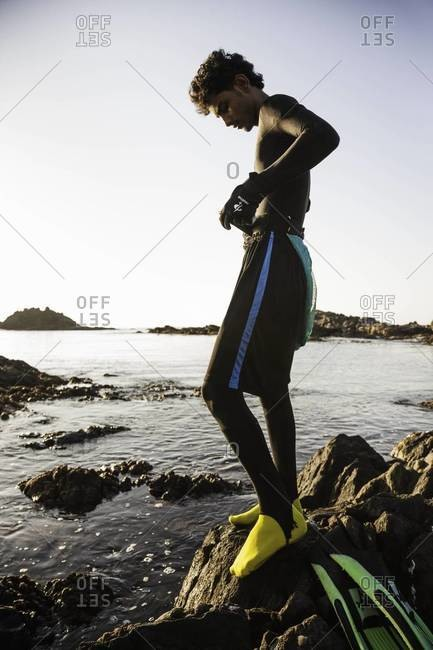 Muscat, Oman - October 20, 2011: Abalone fisherman putting on dive gear