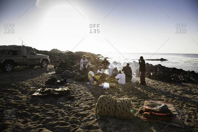 Muscat, Oman - October 20, 2011: Abalone fisherman gathered in Oman