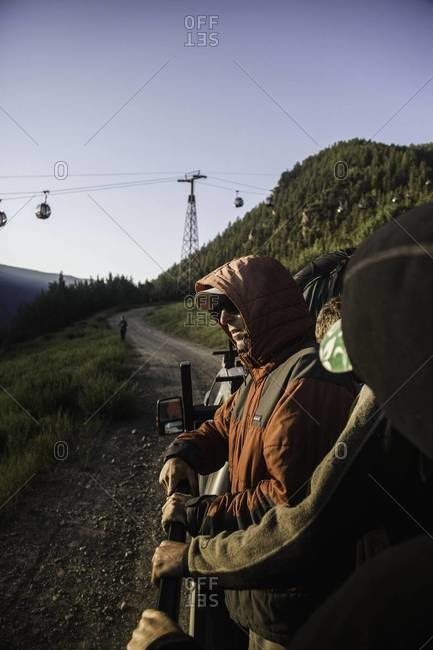 Aspen, Colorado, USA - July 3, 2012: Riding truck to paragliding site, Aspen, Colorado