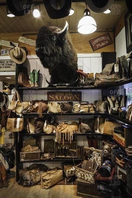 Aspen, Colorado, USA - July 2, 2012: Cowboy leather goods in Colorado shop
