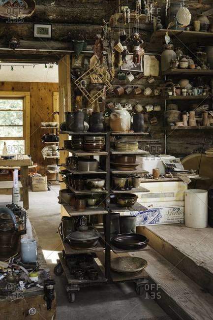Aspen, Colorado, USA - July 3, 2012: Shelves of crock ware in Colorado arts center