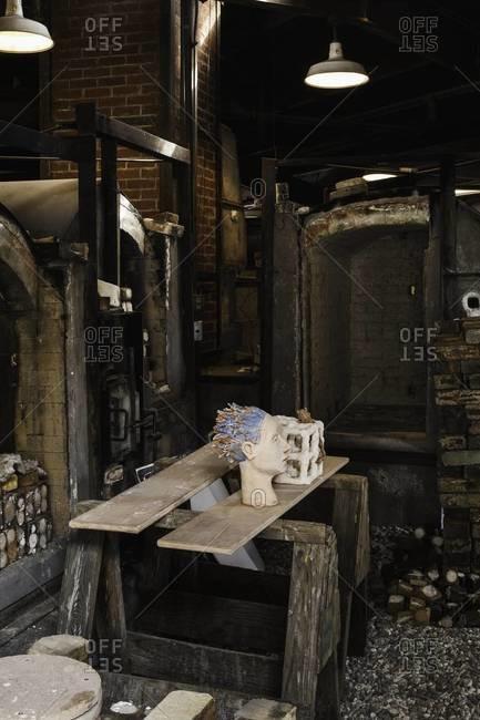 Aspen, Colorado, USA - July 3, 2012: Art studio and supplies in Colorado