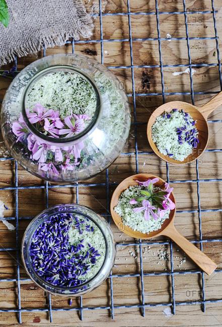 Jars of various herb salts