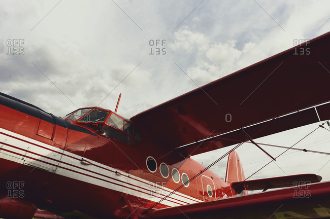 Renovated vintage red airplane
