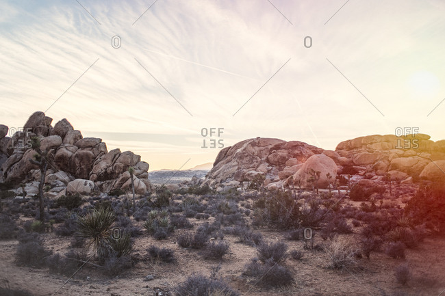 A rocky desert at dusk