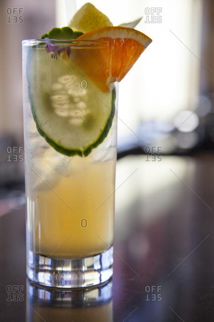 A fruit liquor cocktail at a bar