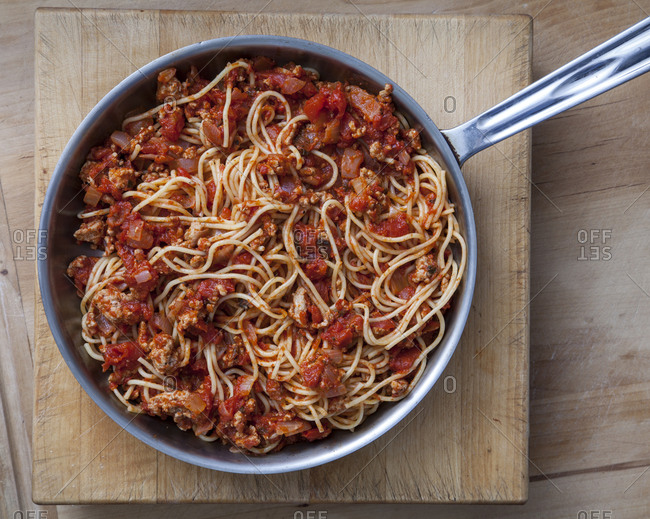 Spaghetti bolognese in a pan