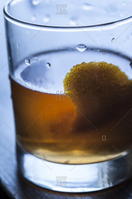 A half-drank cognac brandy cocktail