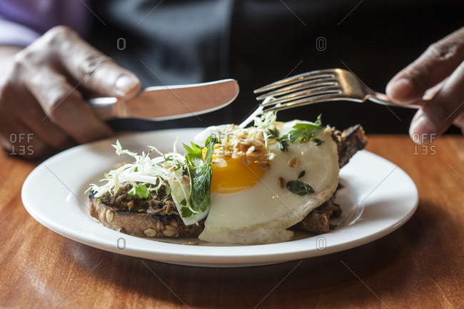 Haggis on toast with a fried egg