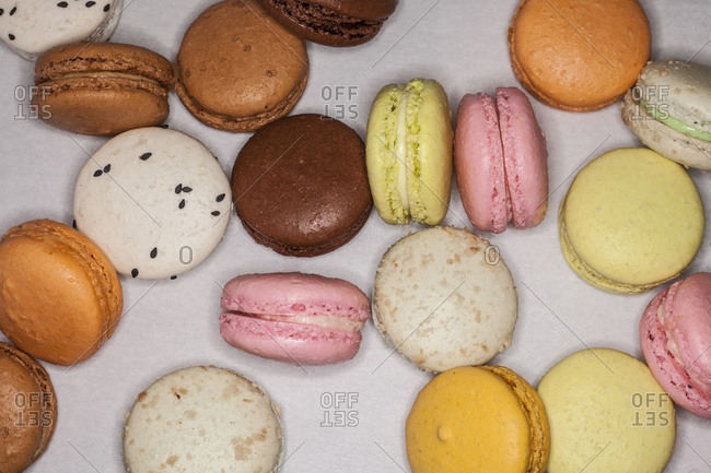A variety of macaroons  on a countertop
