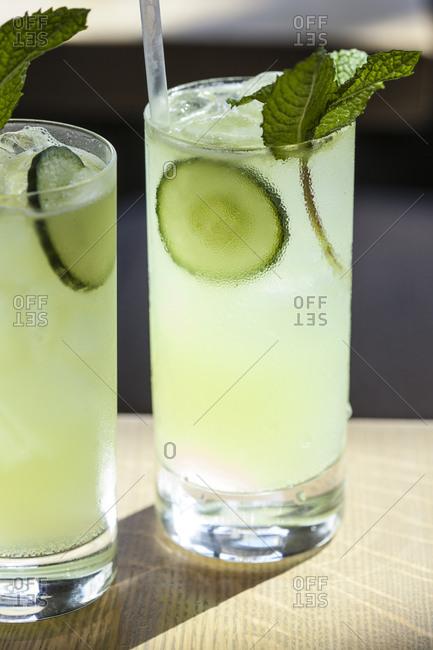 Two mezcal cocktails