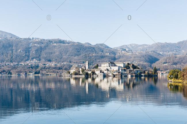 View of a town at a lake