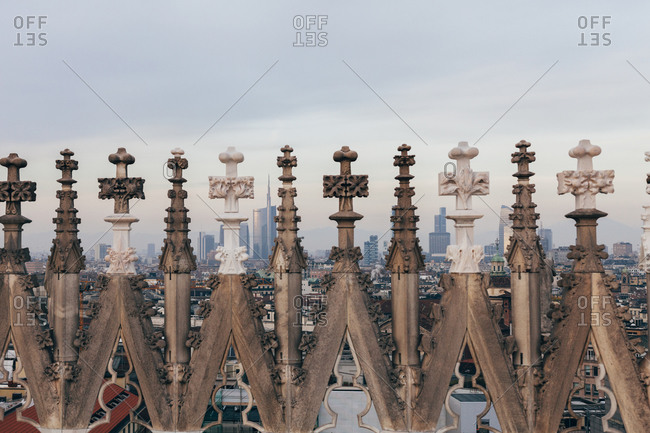 Ornate details of the Milan Cathedral in Italy