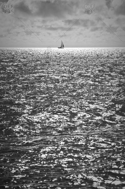 A sailboat east of Cape Clinton, Coral Sea, Queensland, Australia
