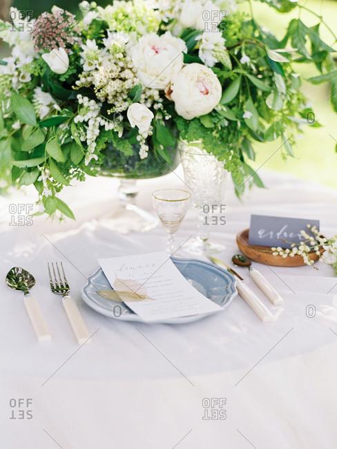 Stylish wedding table setting