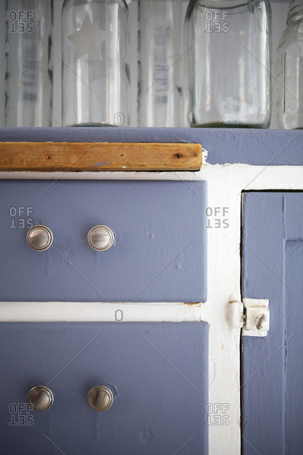Close up of refurbished kitchen cabinets