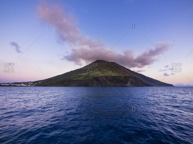 Volcano in the evening, Aeolian Islands