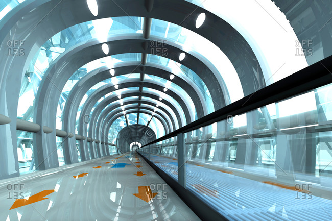 Architecture visualization of a futuristic subway or train station
