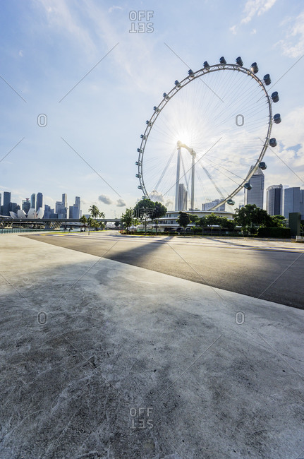 Singapore Flyer against the sun, Marina Bay District
