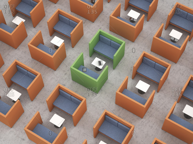 Workspaces with partition walls in office, 3d rendering