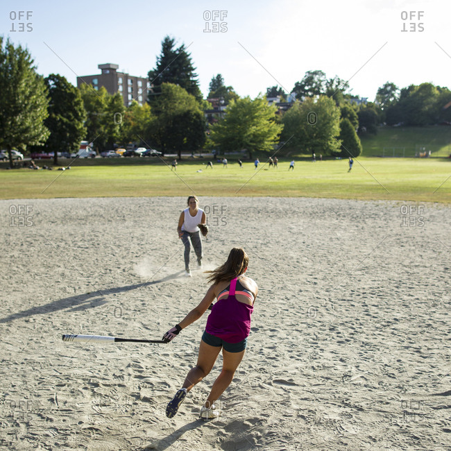 Softball game in Vancouver, Canada