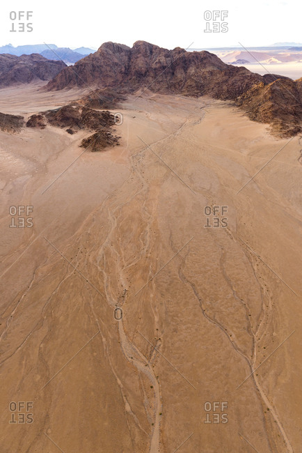 Dried up tributaries in the desert in Namibia