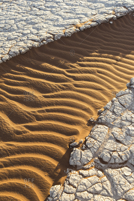 Sand and salt in the Namib desert