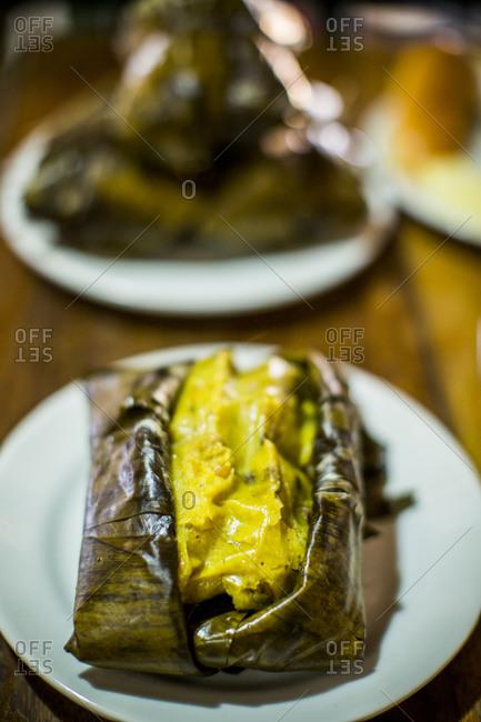 Tamale at restaurant in Bogota, Colombia