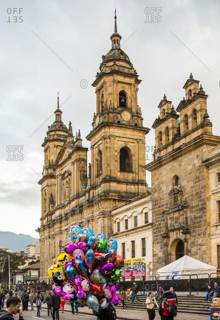 Bogota, Colombia - December 3, 2013:  Church in Plaza de Bolivar