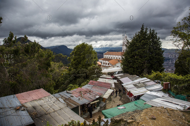 Shops and vendors on Mount Monserrate, Bogota, Colombia